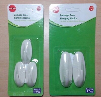 Damage Free Strong Hanging Hooks 2/3 Packs Strong Holding Easy Remove Value!