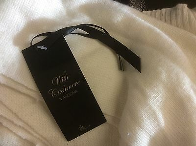 Ladies Luxury Yarn With Cashmere & Angora Cream Scarf Ideal For Winter