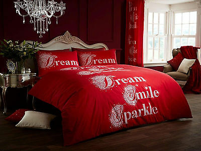 New Duvet Quilt Cover with Pillowcases Bedding Set - Sparkle Red