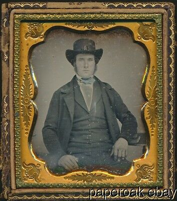 Hand Colored Man With Hat 6th Plate Daguerreotype