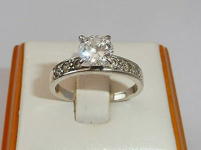 Vintage Ladies Jewellery Sterling 925 Silver 1 Ct White Sapphire Solitaire Ring