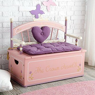 Levels of Discovery Kids Princess Crown Jewel Bench Seat with Storage