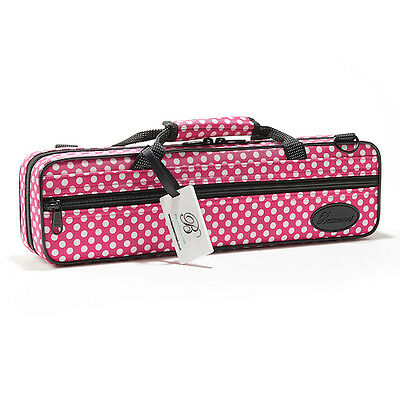 Beaumont Flute Case Pink Polka Dot Colourful Hard Flute Case Lightweight Student