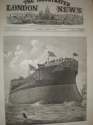 Launch of HMS Alexandra at Chatham dockyard J R Wells 1875 old print and article