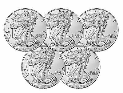 Lot of 5 - 2017 $1 1oz Silver American Eagle BU
