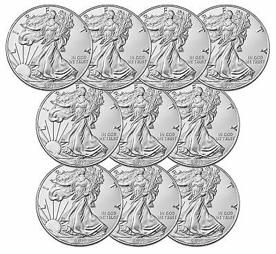Lot of 10 - 2017 $1 1oz Silver American Eagle BU