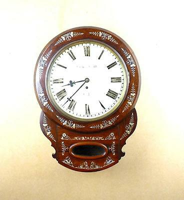 Inlaid Mother of Pearl & Rosewood Wall Clock C1850