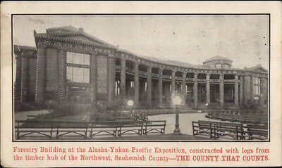 1909 Alaska Yukon Pacific Expo Forestry Building Adv on Back Postcard
