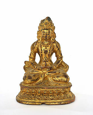 18C Chinese Gilt Lacquer Terracotta Terra Cotta Amitayus Buddha NOT BRONZE AS IS