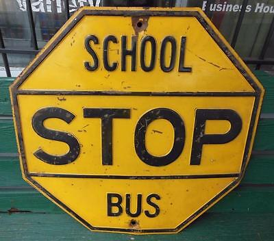 Vintage Circa 1940's Yellow School Bus Stop Sign Embossed Traffic Street Garage