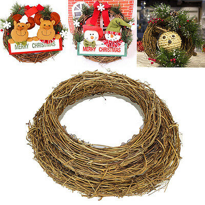 1Pcs Christmas Natural Dried Rattan Wreath Xmas Garland Door Wall Decor GR