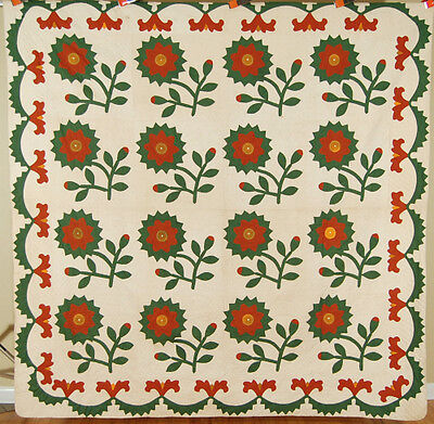 MAGNIFICENT Vintage 1870's Red Green & Cheddar Sunflower Applique Antique Quilt!