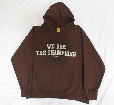 ! Queen We Are The Champions Brown Hooded Sweatshirt Hoodie Mens Xl Cotton Poly