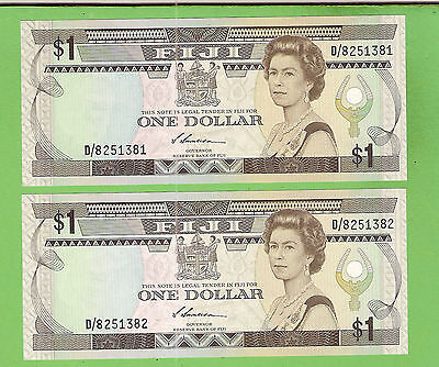 #d286. Consecutive Pair Fiji  One  Dollar   Banknotes  D/8251381 & 2