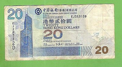 #d286. Hong Kong Bank Of China  20 Dollar   Banknote #ej353120
