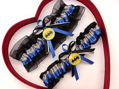 New Batman Wedding Garter Silver Blue Yellow Black Prom Superhero Garter