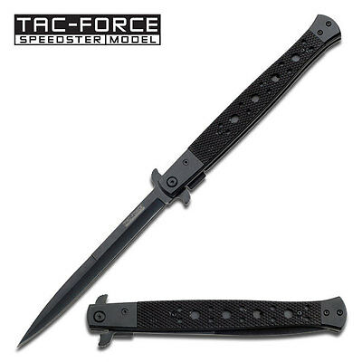 "13"" EXTRA LARGE Stiletto TAC FORCE BLACK Spring Assisted Open Folding knife"