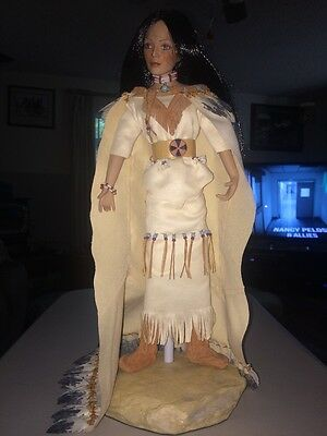 """~Gorgeous~  16"""" Indian Porcelain Doll With Stand"""