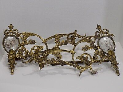 Antique 19th C. Pair French Brass / Crystal Roses Floral Curtain Hold Tie Backs