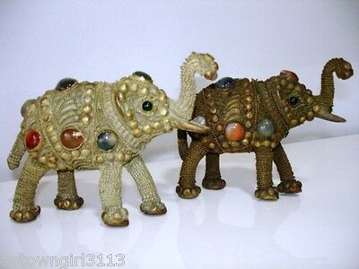 Chinese FILIGREE GILDED JEWELLED ELEPHANTS Cabochon Gems TRUNKS UP for GOOD LUCK