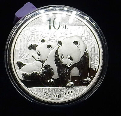2010 Panda Coin 1Oz .9999 Silver This Coin Is Gem  Bu Close To A Proof Wow!!!!