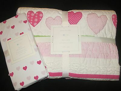 NEW Pottery Barn Kids HEART TODDLER/CRIB valentine dot QUILT+BRIGHT PINK SHEET