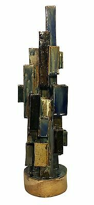 "Large 24"" Modern ABSTRACT BRUTALIST Art Pottery CERAMIC SCULPTURE"