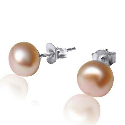 CULTURED FRESHWATER PEARL STUD EARRINGS - 925 STERLING SILVER Champagne 5-6mm