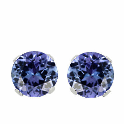 Stud Earrings 1.00 Ct Round Cut Tanzanite Solid 14k White Gold 5mm