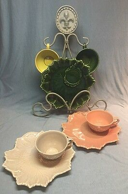 Awesome Vintage Nature Themed Russell Wright Woodfield Leaf Snack Set