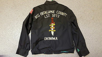 VINTAGE EMBROIDERED TOUR JACKET  'USS OUTAGAMIE COUNTY LST-1073' Vietnam Bomber