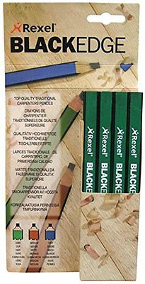 12 Rexel Blackedge Carpenters Pencil Mixed Hard Medium Wood Marking Carpenter.