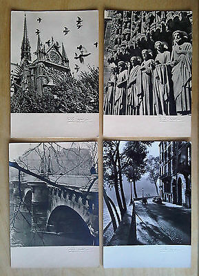 4 Paris Postcards by Albert Monier Embossed Signature Notre-Dame Pont-Neuf Anjou