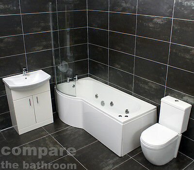 Tagus LEFT HAND P Shape Showerbath Suite Vanity Basin Sink Unit + Toilet + Taps
