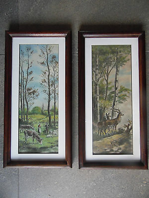 Grazing Cows and Deer in a Woodland, 2 Antique Pastels P. Wagniez 1931. Listed