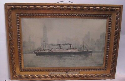 Fabulous Antique Tin LLOYD SABAUDO Steam Ship Sign Conte Rosso NYC Skyline 1920s