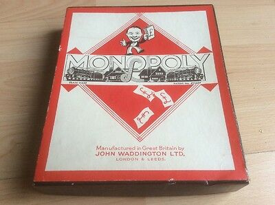 Vintage 1940's Monopoly Game with Original Box and Playing Pieces