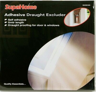 Adhesive Draught Excluder White 9mm Wide 4mm Thick 5m Length Windows & Doors 1C