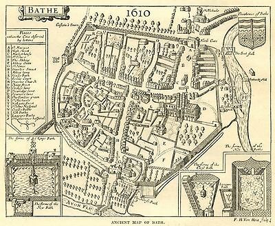 Map of ancient Bath centre, antique print, 1880s ready mounted, SUPERB