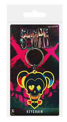 DC Comics Suicide Squad (Harley Quinn Skull) Rubber Keychain / Keyring - New.