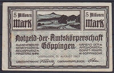 Notgeld Göppingen 5 Millionen Mark 1923