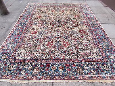 Antique Traditional Persian Wool Cream Oriental Hand Made Big Carpet 297x236cm