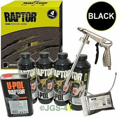 UPOL RAPTOR Ultra Tough Truck Bed Liner Coating Car BLACK + Spray Gun+Traction