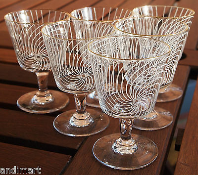 6 Matching 1960s/70s Chance Swirl Wine/Port/Sherry Glasses - Very Good Condition