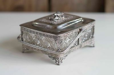 "Antique Victorian Silver Butter/jam Dish by Walker and Hall ""Very pretty & rare"""