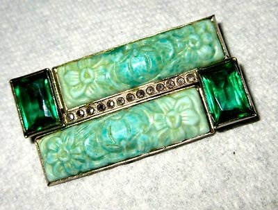 Antique Art Deco Beautiful Green Paste Marcasite Pin Brooch 1930s