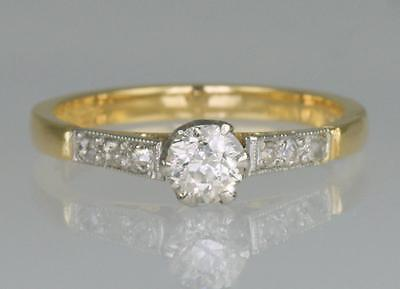 Vintage Diamond Solitaire 18ct Gold & PLAT Single Stone Antique Ring Circa 1910