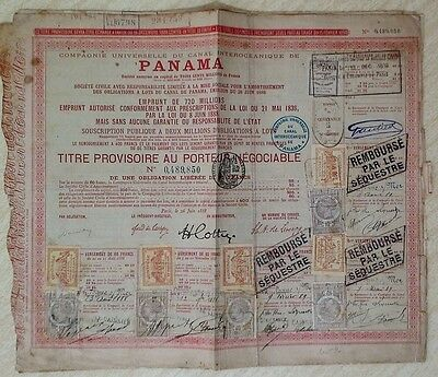 Panama Panamian 1888 Canal Interoceanique 60 Francs UNC Bond Loan Share