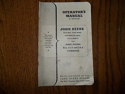 Rare Original Vintage John Deere OM-H19-1248 Operators Manual 11-A 12-A Combines