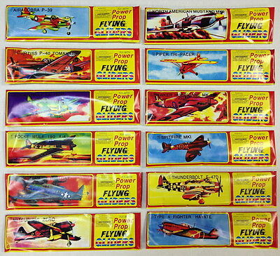 Set Of 12 Different Foam Gliders Power Prop Ww 2 Flying Aces War Planes Glider
